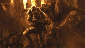 Soldato del futuro nel vestito dell'armatura illustrazione vettoriale