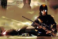 Soldato della donna del futuro Fotografie Stock