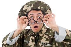 Soldato divertente nei militari Fotografia Stock Libera da Diritti