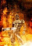 Soldato e fuoco futuristici illustrazione vettoriale