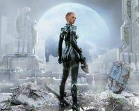 Soldato femminile corazzato che posa davanti ad una città futuristica illustrazione vettoriale
