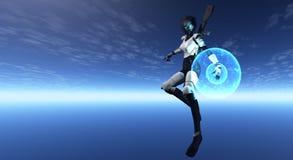 Soldato femminile del android Fotografia Stock Libera da Diritti
