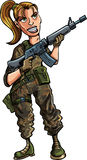 Soldato femminile del fumetto con il fucile di assalto Immagine Stock