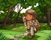 Soldato in foresta sulla radio illustrazione vettoriale