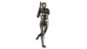 Soldato futuristico in armatura a prova di proiettile che tiene una pistola, guerriero isolato su fondo bianco illustrazione vettoriale