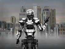 Soldato futuristico del robot con il fondo della città Fotografie Stock