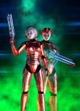 Soldato futuristico della donna, vestito rosso e casco, illustrazione 3d illustrazione di stock