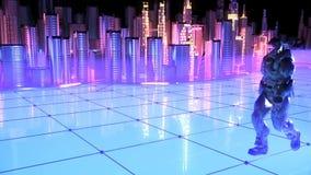 Soldato futuristico su una città futura Fotografie Stock