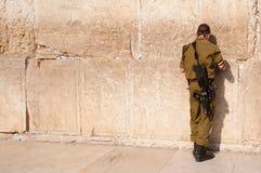 Soldato israeliano alla parete occidentale Fotografia Stock
