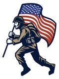 Soldato militare che porta la bandiera degli Stati Uniti illustrazione di stock
