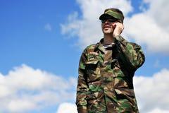 Soldato mobile Immagine Stock