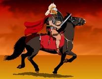 Soldato romano su a cavallo Immagine Stock