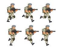 Soldato Running Sprite degli Stati Uniti Immagini Stock