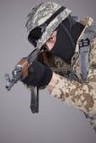 Soldato russo con la mitragliatrice Fotografie Stock Libere da Diritti