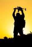 Soldato Silhouette Fotografie Stock
