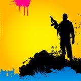 Soldato su una priorità bassa astratta Fotografie Stock