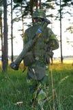 Soldato sul movimento Fotografia Stock Libera da Diritti