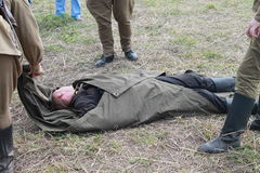 Soldato ucciso durante la guerra Immagini Stock