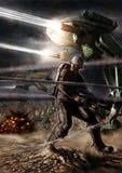 Soldato in un'illustrazione futuristica di Digital di battaglia Immagine Stock