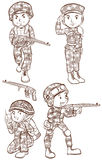 Soldats avec des armes à feu Photo stock