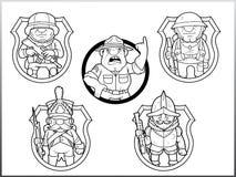 Soldats courageux drôles d'images illustration de vecteur