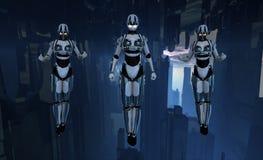 Soldats de Cyborg planant Images stock