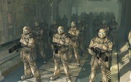 Soldats de marine de l'espace - attendant pour débarquer illustration libre de droits