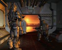 Soldats de marine de l'espace obtenant sur une planète rouge Image libre de droits