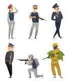 Soldats militaires avec de diverses armes Positionnement du travail du vecteur characters illustration libre de droits