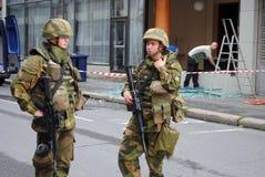 Soldats norvégiens après attaque terroriste images libres de droits