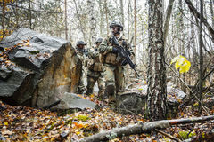 Soldats norvégiens dans la forêt Photos libres de droits