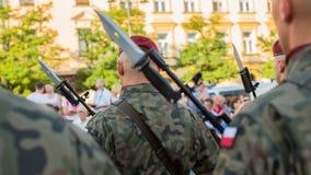 Soldats polonais sur la garde de la cérémonie Images libres de droits