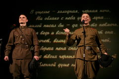 Soldats russes - amis militaires sur Victory Day Photo libre de droits