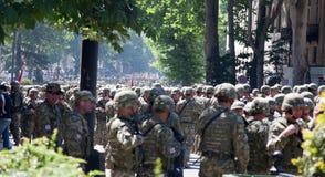 Soldats sur le défilé militaire. Tbilisi. La Géorgie. Photographie stock libre de droits