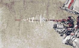 Soldatskyttegevär med futuristiskt begrepp stock illustrationer