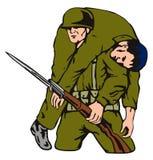 Soldattragen verwundet Stockbild