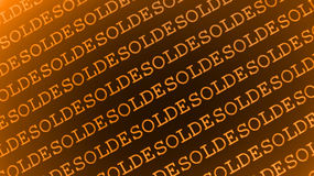 Solde text design. Orange text design repeating solde, the French word for sale, in diagonal lines on an orange and brown gradient background Stock Photography