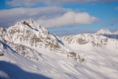 Solden mountains. High mountain peak covered in snow. At Solden glacier, Austria Royalty Free Stock Photography