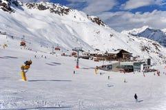 Solden-Skiort in den österreichischen Alpen Stockfotografie