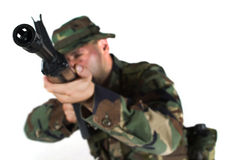 Solder is aiming. Stock Images
