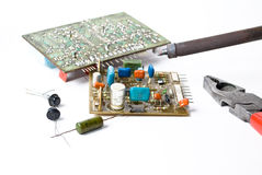 Soldering. On the white background Stock Photography