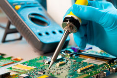 The soldering of chips Royalty Free Stock Images
