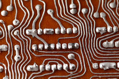 Soldering circuit board chip. Vintage hardware component macro view. Service electronic concept. Shallow depth of field Royalty Free Stock Photography