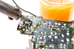Soldering a circuit board Royalty Free Stock Images