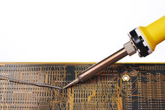 Soldering an electronic circuit Stock Image