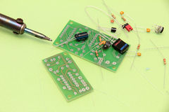 Soldering of electronic circuit Royalty Free Stock Images