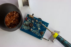 Soldering of electronic components on the PCB Royalty Free Stock Photography