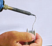 Soldering. Electronic soldering with Trails lead solder Stock Images