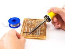 Soldering An Electronics Board Stock Photos