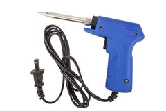 Soldering equipment containing a soldering gun Stock Photo